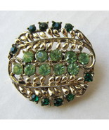 Vintage Brooch Pin with Light and Dark Green Rh... - $18.00