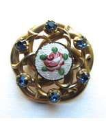 Vintage Pin with Painted Rose, Blue Rhinestones... - $15.00