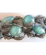 Vintage Wide Turquoise Confetti Thermoset Link ... - $65.00