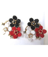 Vintage Carved Plastic Flowers Pierced Earrings... - $24.00