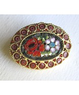 Vintage Italy Micro Mosaic Brooch Pin Intricate... - $25.00