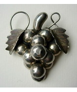 Vintage Mexico Sterling Silver Grapes Pin Brooch Eagle 3 Mark - $40.00