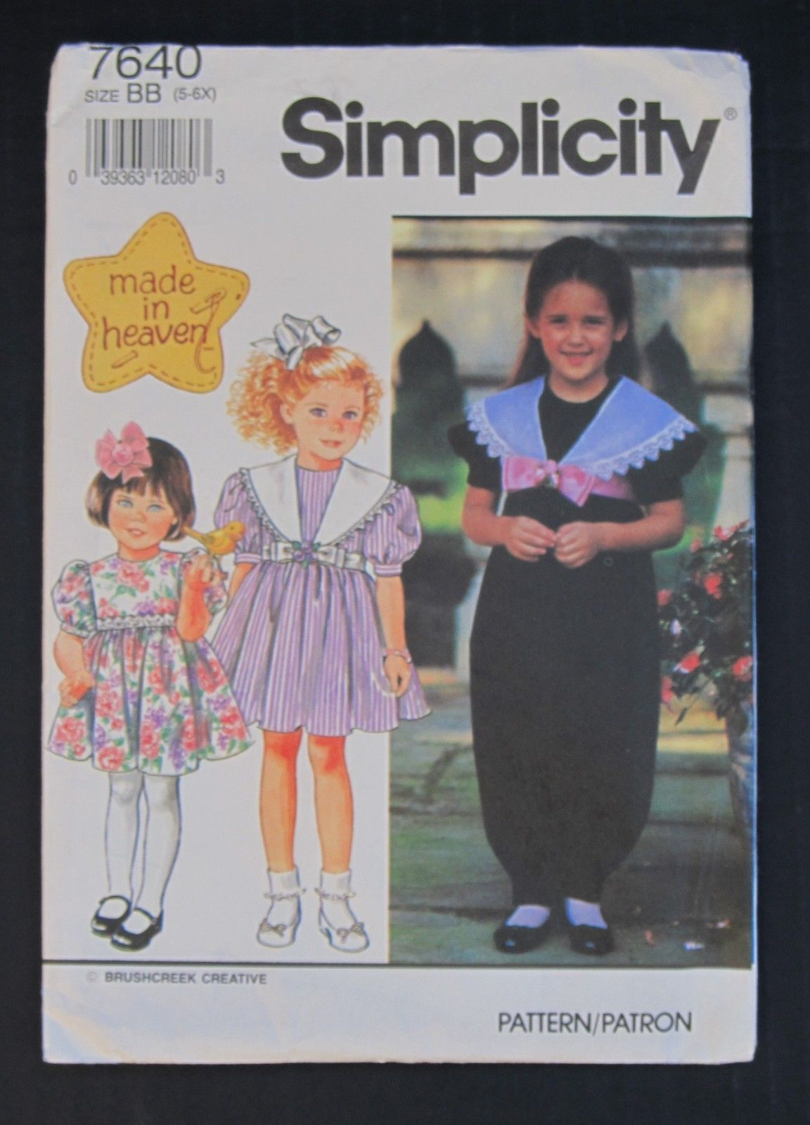 Simplicity #7640 Made In Heaven Girls Dress/Jumpsuit Sz 5-6X Pattern Part Uncut