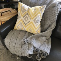 "Pottery Barn Faux Fur Pom Pom Knitted Blanket Throw 50"" x 60"" Blue Gray - $80.34 CAD"