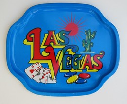 Vintage METAL Souvenir Serving TRAY~Fabulous LAS VEGAS Casinos~Colorful ... - $20.00