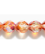 8mm Czech Fire Polish, Crystal AB and Honey, Glass Beads (25) amber, topaz - $2.00