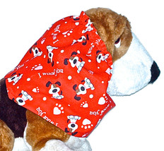 Dog Snood Red Valentines Day I Woof You Long Eared Pups Cotton Size Large - $12.50