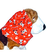 Dog Snood Red Valentines Day I Woof You Long Eared Pups Cotton Size Large - $14.00