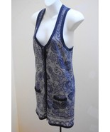 Kimchi Blue S Tunic Blue Gray Floral Top Racerback Shirt Urban Outfitter... - $14.67