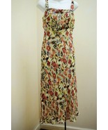 Lapis S Dress Red Green Floral Silk Chiffon Sleeveless Pleated Romantic - $29.38