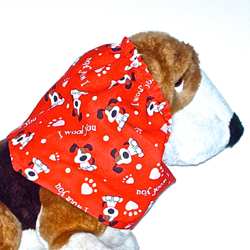 Primary image for Dog Snood Red Valentines Day I Woof You Long Eared Pups Cotton Puppy REGULAR