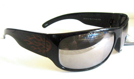 FOSTER GRANT ACTIVE SUNGLASSES POLARIZED BLACK FRAMES WITH RED FLAMES - $16.99