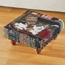 Library Cat Tapestry Footstool Kitten Laying down Books Pet Lover Foot S... - $33.88