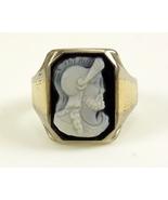 Onyx cameo gents ring 14k white gold black white Roman Greek warrior  - $200.00