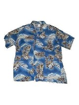Mens Hilo Hattie Hawaiian Button Front Shirt Hibiscus Flowers Cruise Island - $29.69