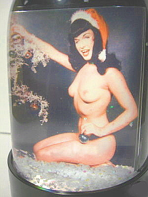 Bettie Page Christmas Snow Globe ( Nude decorating tree ) Snowglobe