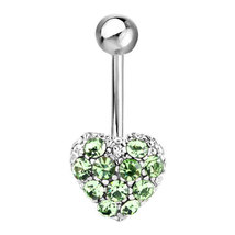 316L Surgical Steel Green Crystal Heart Cushion - $5.39