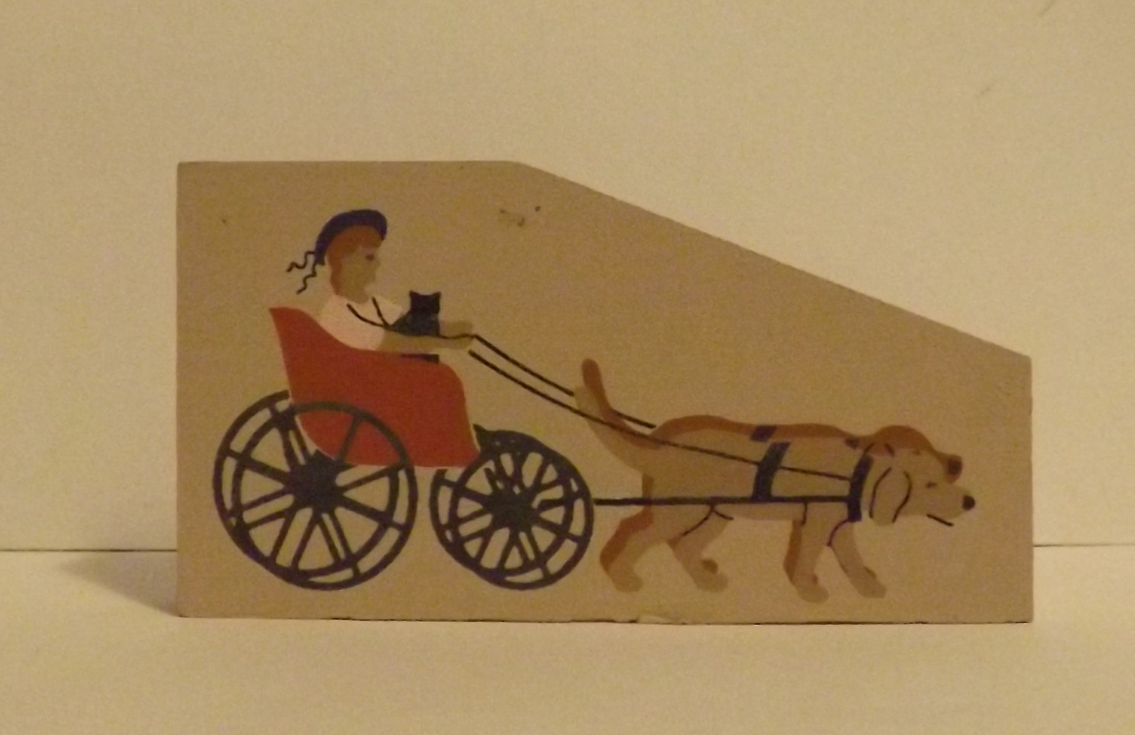 Cats Meow Accessory Lady in Buggy Being Pulled by Dogs 1994