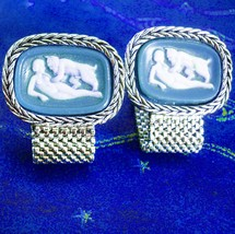 Grotesque Cufflinks Nude Pan & Lover Incolay Mythical Devil Extra large ... - $425.00