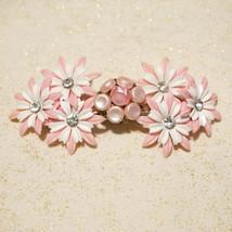 Vintage Rhinestone Pink White Daisy Flower Barrette Hair Clip OOAK - $30.00