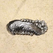 One of a Kind Vintage Rhinestone Leaf Hair Clip Barrette New Years Holiday - $30.00