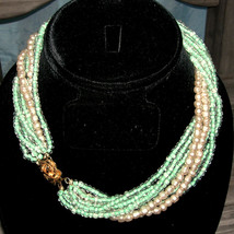 Vintage Baroque Glass Pearl & Seed Bead Twisted Necklace Bridal Wedding - $48.00