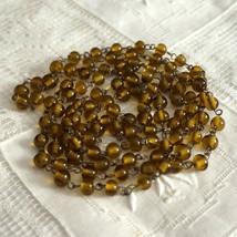 Vintage Olive Glass Bead Flapper Sautoir Necklace - $45.00