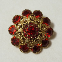 Vintage Prong Set Siam Ruby Red Rhinestone Brooch Stones - $40.00