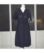 Vintage 50s Embroidered Eyelet Lace Day Shift Secretary Dress Large - $65.00