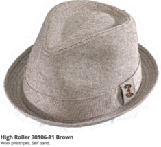 Who Ced Dogtown High Roller Polyester Fedora Lined Sweatband Brown Purple - $48.00