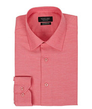 Men's Tailored Fit Collared Button Down Casual Solid Coral Dress Shirt - XL image 1
