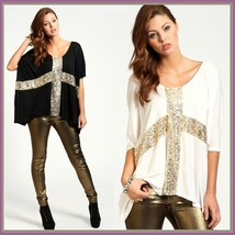 Casual Hip Sequined Cross Batwing Sleeve Tee Shirt Tank Top in Black or White