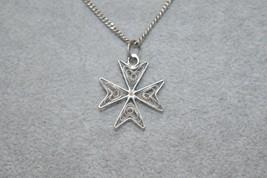 1950 Vintage 925 Silver Filigree Cross Necklace 6 grams - $31.47