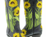 Womens Denim Blue Cowboy Boots Snip Toe Flower Embroidered Leather Size 5