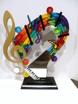 New Colorful Musical Table Top Wood Sculpture with Cool Piano Mirror, UNIQUE!  - $325.00