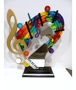 New Colorful Musical Table Top Wood Sculpture with Cool Piano Mirror, UN... - $325.00