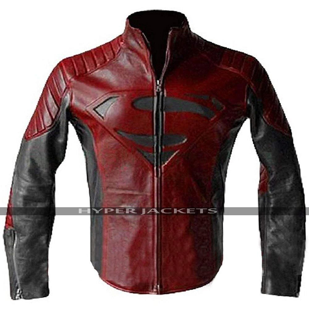 New Superman Maroon & Black Leather Jacket