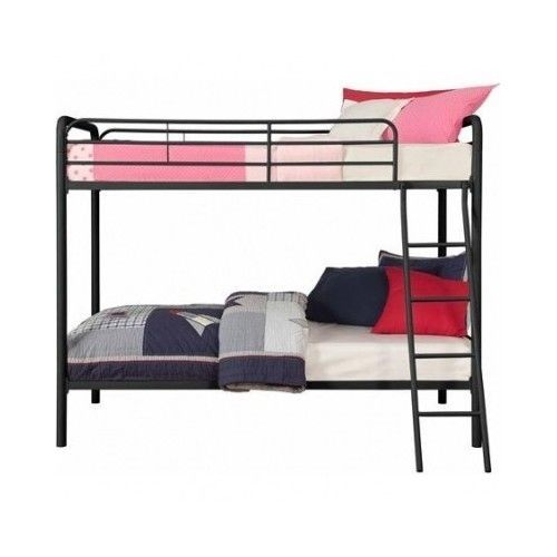 Twin Bunk Bed Metal Black Ladder Bedroom Furniture Mission Dorm Kids Room Lof