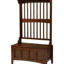 Hall Storage Bench Coat Tree Hat Rack Furniture Entry Way Wood Seat Hook... - $249.98