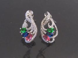Vintage Sterling Silver Mixed Gemstone & CZ Stud Earrings  - $40.00