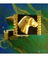 Stunning Dog Cufflinks Vintage Golden Retriever Tie Clip Canine Yellow L... - $155.00