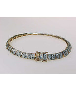 DIAMOND Chips TENNIS BRACELET - Yellow GOLD over STERLING SILVER - 7 1/2... - $175.00