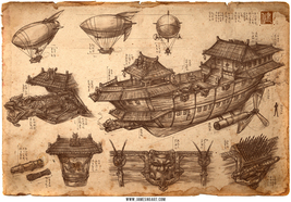 Imperial Convoy Chinese Steampunk Print by James Ng - $25.00