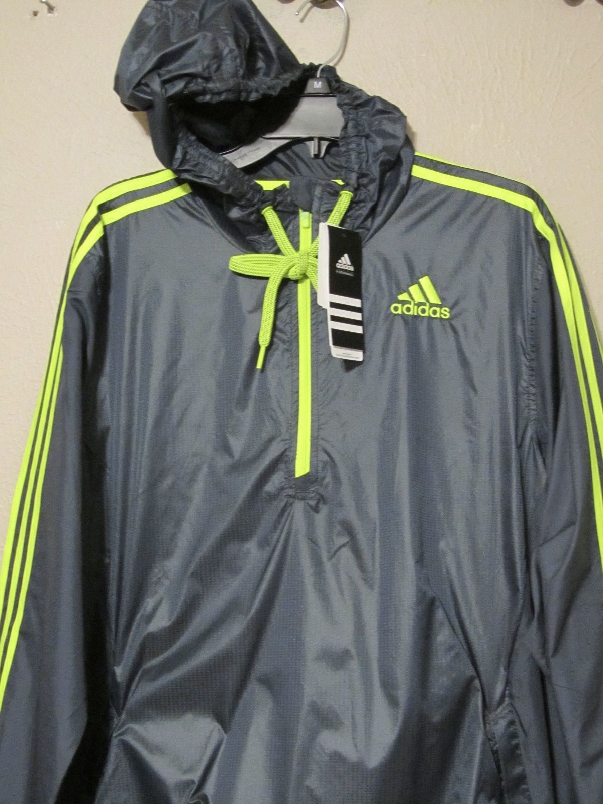 Primary image for Adidas Ultimate Wind Jacket 1/2 Zip Windbreaker Hoodie Mens Gray S-2XL Nwt $55
