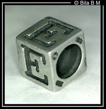 LETTER or INITIAL E Sterling Silver Charm Bead - FREE SHIPPING - $20.00