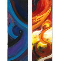 Abstract Space and Abstract Sky, A Paired Set of Vertical Paintings - $2,500.00