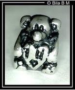 TEDDY BEAR holding HEART Charm Bead - STERLING Silver BIAGI - $26.00