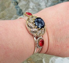 Vintage, Beautiful Dark Blue Sapphire and Ruby Bracelet, 925 Silver - $44.00