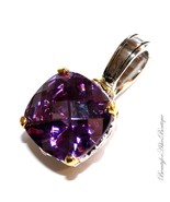 Beauty for Ashes Purple Two Tone Checker Cut Throne Room Amethyst CZ Pen... - $59.00