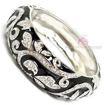 Love Beauty for Ashes Black Enamel Clear Crystal Scroll Hinged Cuff Brac... - $26.95
